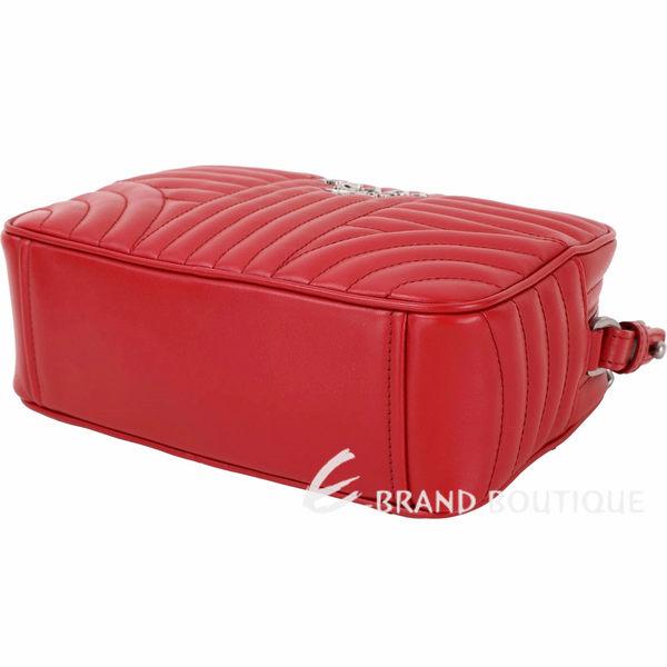 PRADA Diagramme 中型 絎縫小牛皮仿舊銀鍊帶相機包(火紅色) 1810423-54