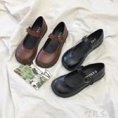 日繫小皮鞋女學生韓版百搭原宿風圓頭復古單鞋軟妹鞋 交換禮物