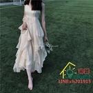 吊帶洋裝 愛麗絲夢游仙境 大裙擺超重工大擺吊帶連衣裙長裙 限時折扣