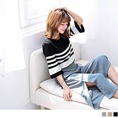 OB嚴選《FA0922-》日系文青配色條紋七分寬袖細針織上衣