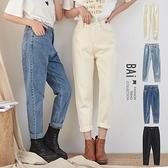 男友褲 繭型高腰霧銀單釦斜紋牛仔褲M-XL號-BAi白媽媽【301824】
