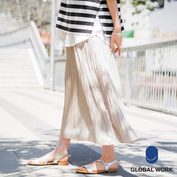 GLOBAL WORK女素色飄逸柔美微光澤百褶裙半身裙長裙-四色