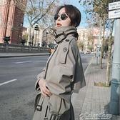 風衣女中長款2021春秋新款韓版寬松氣質小個子外套休閑顯瘦大衣 快速出貨