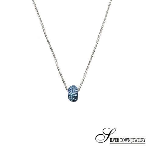 SilverTown銀鎮 藍色方晶圓珠純銀項鍊