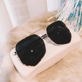 太陽鏡 男女同款情侶太陽鏡ins街拍多邊形墨鏡韓版潮蛤蟆鏡大框 6色