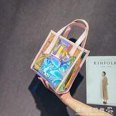 潮手提韓版百搭斜背超火果凍鐳射透明包包女    歐韓流行館