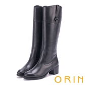 ORIN 時髦簡約 立體剪裁造型粗低跟真皮長筒靴-黑色