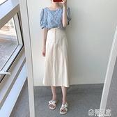 米白色牛仔裙半身裙女夏季中長款a字小清新a型日系半身長裙兩件套 全館鉅惠