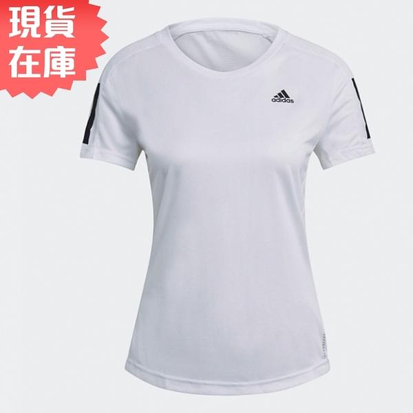 【現貨】Aadidas Own the Run 女裝 短袖 慢跑 再生材質 排汗 反光細節 白【運動世界】GJ9989