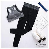 Catworld 文字腰頭雜訊針織運動褲【12001822】‧M/L