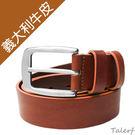 TALERF馬卡龍個性單層皮帶(橘色/共6色)-情侶-女 /真皮 牛皮/台灣製造