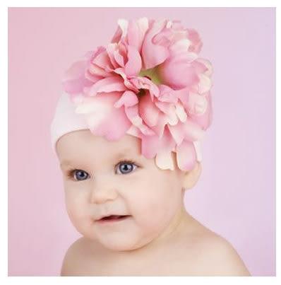 嬰幼兒保暖綿帽: 牡丹: 淡粉: Jamie-0402
