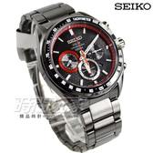 SEIKO 精工錶 Criteria 太陽能計時碼錶 三眼計時運動男錶 藍寶石水晶 IP黑x紅 SSC593P1 V175-0EE0R