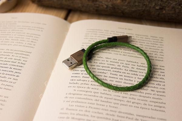 【最佳禮品】alto Braided Lightning 皮革編織 Cable - 草綠/胡桃木 Apple MFI 認證 iPhone iPad 充電線 傳輸線