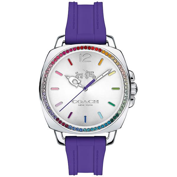 【僾瑪精品】COACH-Boyfriend-繽紛七彩晶鑽休閒錶-紫色/橡膠錶帶/38mm/14502530