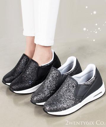 【2wenty6ix】★ 正韓 ★ Temptation Glitter 時尚魅力 耀眼金沙 5.5cm增高厚底鞋懶人鞋
