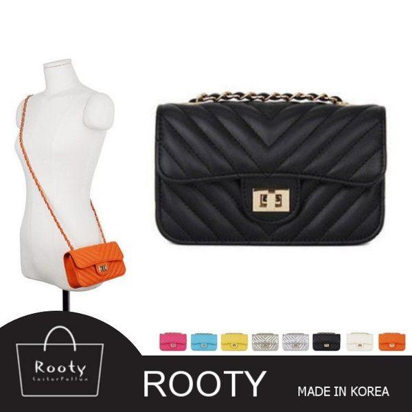 【韓國直送】側背包 韓國Rooty Flap mini V字紋小肩背包9色可選 No.F010