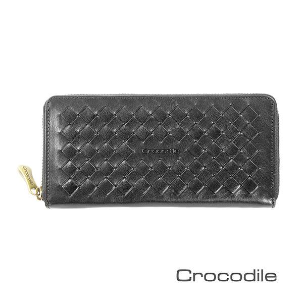 Crocodile 義大利植鞣製皮 Natural x Woven 編織拉鍊長夾 0103-07306