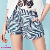 【SHOWCASE】直條紋相機印花打褶寬口短褲(藍)
