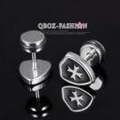 《QBOX 》FASHION 飾品【W2016N303】精緻個性十字架圖紋盾面316L鈦鋼針式耳環