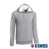 K-SWISS Branding Logo Hoodie Jacket刷毛連帽外套-男-深灰