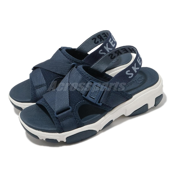 Skechers 涼拖鞋 Daddy-O-Dibs 女鞋 深藍 白 厚底 運動涼拖 【ACS】 163051NVY
