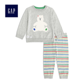 Gap男嬰兒 舒適長袖套裝 492496-淺麻灰