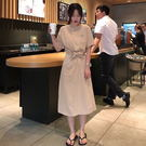 梨卡 - 甜美純色刺繡顯瘦綁帶縮腰短袖中...