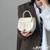 馬鞍包 溫柔風褶皺小眾包包女2020新款ins韓版手提側背斜背云朵包馬鞍包 愛麗絲