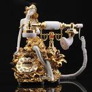 立體雕花金色美女復古電話機 樹脂 來電顯示【藍星居家】