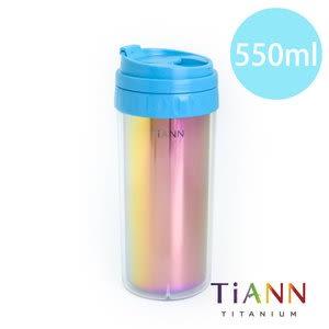 鈦安純鈦餐具TiANN 水好喝 純鈦隨行杯 550ml (科技藍杯蓋)