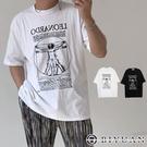 【OBIYUAN】短袖t恤 達文西 維特魯威人 寬鬆衣服 落肩 上衣2色【K262】