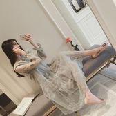 仙女裙女春秋新品復古森系歐根紗鉤花連身裙女神氣質打底長裙子潮