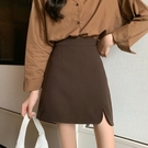 短裙 半身裙女春裝2021年新款時尚小個子包臀短裙高腰顯瘦黑色a字裙子