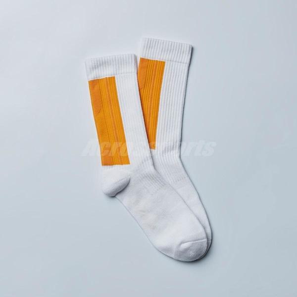 Nozzle Quiz 後研 Landing 中高筒休閒襪 橫紋羅織 男女款 陽黃 單雙入 單一尺寸 23cm-29cm【ACS】 AEVTSX01WY