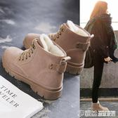 短靴 冬季馬丁靴女學生韓版冬鞋百搭冬天加絨棉鞋網紅雪地短靴 繽紛創意家居