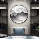 新中式裝飾畫玄關餐廳圓形掛畫書房茶室背景墻禪意山水畫客廳壁畫