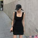 熱賣背心洋裝 黑白灰色方領背心粗吊帶裙春夏內搭彈力修身辣妹連身裙女包臀性感【618 狂歡】