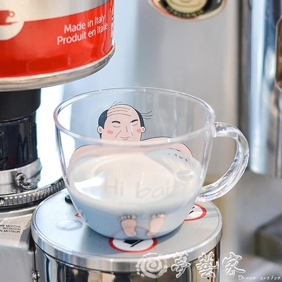 貓爪杯 雲木雜貨 大叔柴犬萌貓玻璃水杯牛奶果汁咖啡杯早餐杯貓爪杯 夢藝