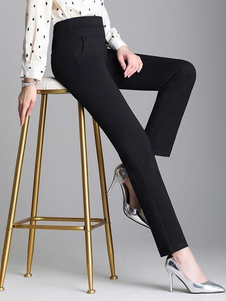 快速出貨 墜感直筒褲女寬鬆直筒垂感黑色褲子女 秋冬加絨女褲西裝褲