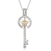 925純銀項鍊 水晶墜飾-鑲鑽鑰匙生日聖誕節交換禮物女飾品3色73aj48【巴黎精品】