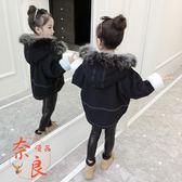 女童牛仔外套秋冬裝韓版中大兒童洋氣加厚短款棉衣【奈良優品】