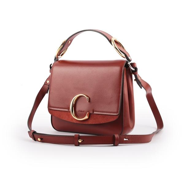 【CHLOE】Small C Bag 小牛皮手提/斜背兩用包(棕色) CHC19WS199A3727S