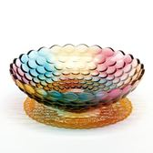 水果盤玻璃無鉛歐式創意現代零食盤創意客廳擺件珠點糖果盤果盆