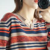 棉麻正韓女長袖秋裝2020新款寬鬆條紋大碼內搭薄款針織上衣打底衫