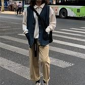 韓版秋季復古寬鬆無袖V領單排扣口袋水洗做舊牛仔馬甲背心上衣女 【ifashion·全店免運】