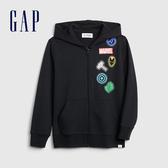 Gap男童 Gap x Marvel 漫威系列棉質舒適印花拉鍊連帽外套 551232-溫和黑色