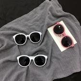墨鏡韓國原宿墨鏡女復古圓框太陽鏡米白色邊框修臉果凍粉眼鏡 時尚新品