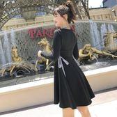 長袖小禮服秋冬款小黑裙側綁帶打底裙8211GD3F-326-B朵維思