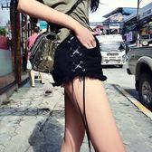 【新年鉅惠】歐美綁帶牛仔單寧短褲修身高腰